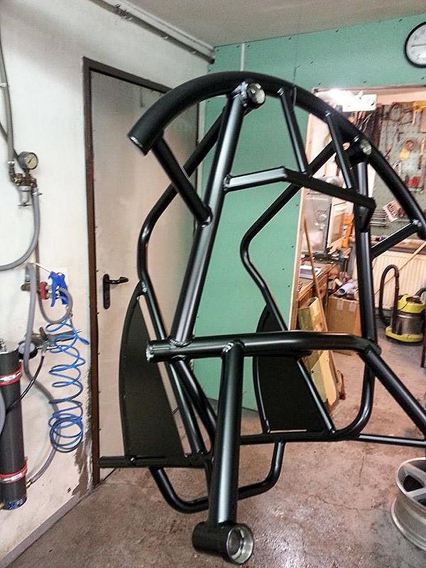 Sport-Rollstuhl pulverbeschichtet schwarz matt